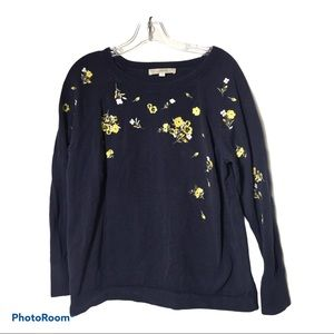 LOFT Sweater Embroidered Floral Pullover Navy-L